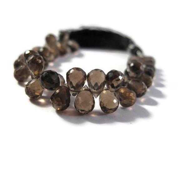 Smoky Quartz Beads, Gemstone Briolettes, 4 Inch Strand of Natural Gemstone Briolettes for Making Jewelry, 5.5mm x 5mm - 7mm x 5mm (B-Sq6c)