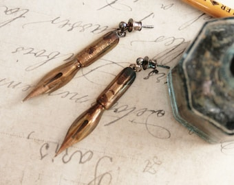 Fountain Pen Nib Dangle Earrings Golden Ink Pen Tip Quirky Earrings Graduation Gift for Writer or Teacher Industrial Chic Dangling earrings