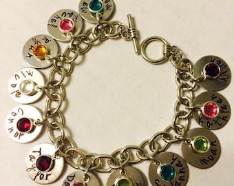 mommy bracelet,name charm bracelet,custom hand stamped mommy,mother,grandmother, nonna bracelet with swarovski crystal birthstones