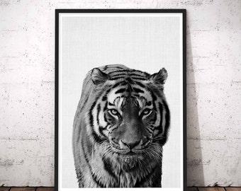 Tiger Face Print, Tiger Print, Nursery Animal Wall Art, Minimal Tiger Wall Art, Black and White Nursery Decor, Safari African Animal Print