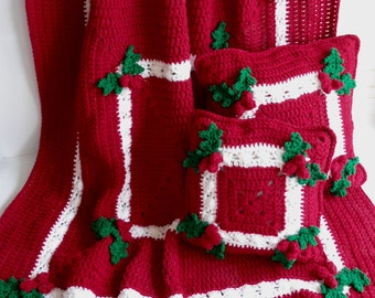 Holly and Berries Afghan and Pillow Crochet Pattern PDF