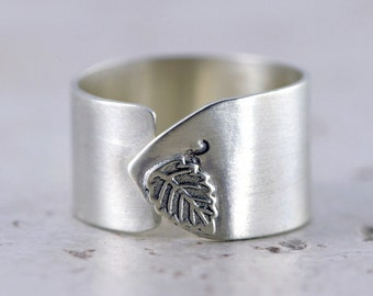 Artistic Leaf Ring - Sterling Silver, Wide Adjustable Band Ring
