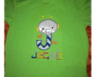 Robot Alphabet Personalized Applique Shirt