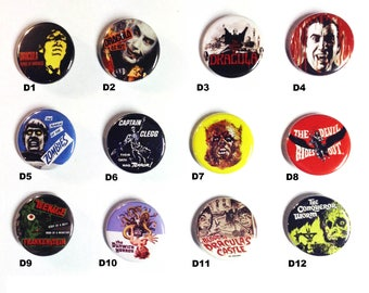 "Pick any three 1.25"" buttons. Horror/Punk/Metal buttons! set D"