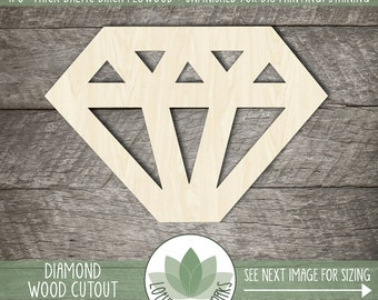 Wood Diamond Shape, Blank Unfinished Shapes, Wooden Diamond Cutout, Unfinished Wood For DIY Projects, Wood Wedding Diamond
