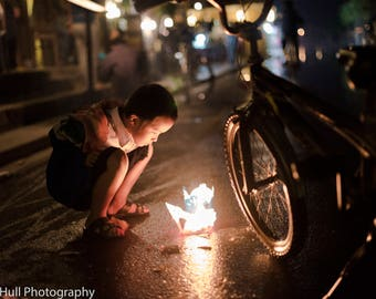 Travel Photography, Vietnam, Colour Photography, Fine Art Prints, Hoian, Night Photography, Children, Lanterns, Lisa Hull