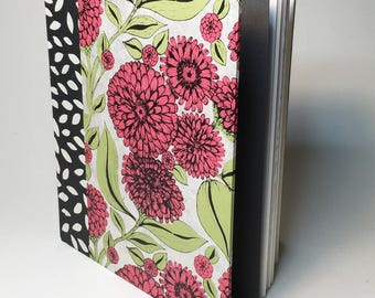 Zinnia Print Hardcover Sketchbook // Handmade Sketchbook // Hardbound Journal // Gifts for Artists // Unique Christmas Gifts