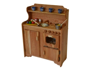 Waldorf Play Stove -Wooden Toy kitchen - Wooden  Play Kitchen - Montessori kitchen- Child's Stove- Play Kitchen-Wooden Toys-Hardwood