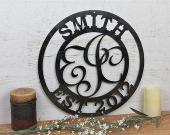 Custom Steel Monogram Family Sign, Front Porch Sign, Decorative Family Room Home Decor, Family Crest