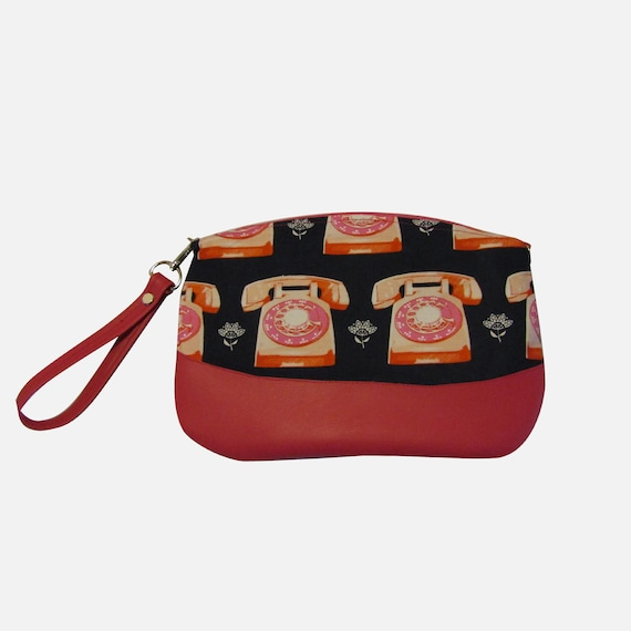 Rotary phone  Handmade  Clutch cross body purse wristlet handbag shoulder bag evening bag