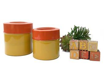 Vintage Retro Nesting Kitchen Canisters Mid Century Organization Home Decor Decorative Storage Kitchen Container Set