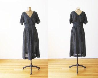 70s Dress - Black Voile Cotton Swiss Dot Sundress - Black Sundress - Polka Dot Day Dress - Light Cotton Summer Dress - Romantic Dress - S