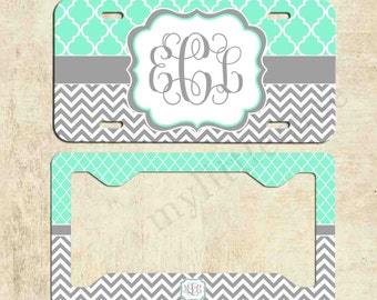 Monogrammed license plate - Mint Lattice Grey Chevron - Personalized License Plate Frame - Car Tag - Front Plate