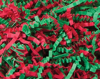 Christmas Mix Crinkle Cut™ Paper Shred Zig Fill Mixed Red and Green 8 oz bag