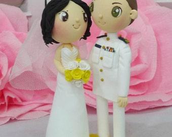 US Coast Guard wedding cake topper in white dress uniform clay doll,bride in heart shaped strapless wedding dress clay figurine,keepsake