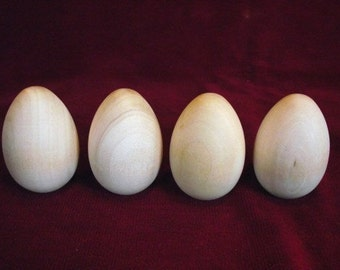 4 Wooden Hen Eggs 2-1/2  inch with flat bottom