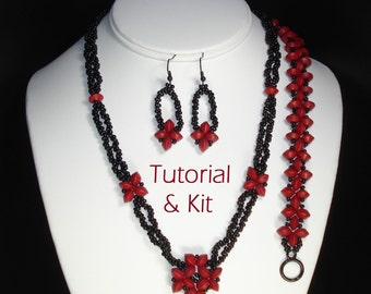 Simple Stitched Saucer Set Kit and Tutorial (necklace, bracelet, earrings) - learn Right Angle Weave!