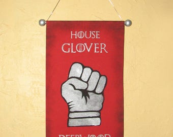 Hand Painted House Glover Canvas Banner - Name and Motto - Game of Thrones - Sigil - Sign - Cosplay Prop