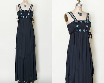 1970s Black Maxi Dress --- Vintage Embroidered Boho Dress
