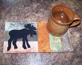 LOG CABIN - Moose- Applique Quilted Mug Rug PDF E-Pattern