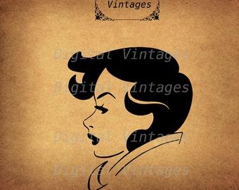 Retro Woman Profile Face Vintage Digital Image Download Printable Clip Art Prints HQ 300dpi svg jpg png