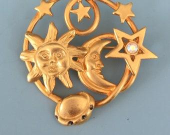 Vintage cosmic sun moon  & star brooch