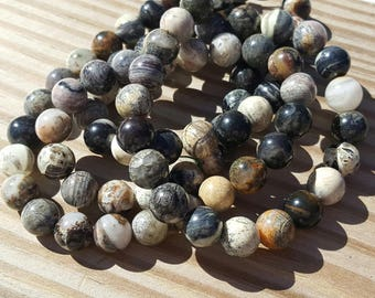 "1 16"" Strand of Genuine Natural Black Silver Leaf Jasper Smooth 10mm Rounds (40 Beads)"