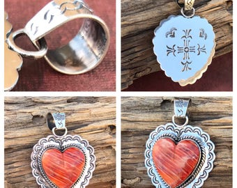 Reversible Sterling Silver Orange Spiny Oyster Heart Pendant