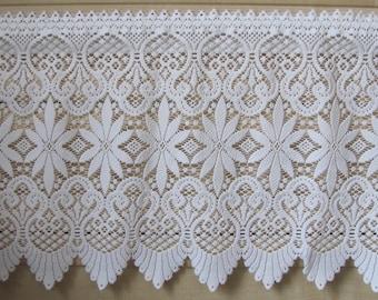 "Vintage Curtain Valance; White Polyester Lace Valance 15"" x 38""/57"" Rod Pocket Valance / Privacy Curtain; White Valance"