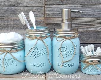 4 Piece Bathroom Mason Jar Set