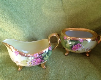 Julius H Brauer Studio Hand Painted Sugar and Creamer 1905-1910 Signed