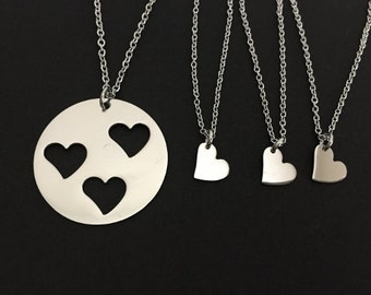 Mother and 3 Daughters Necklaces. Family Necklace Set. Matching Mother / Daughters Necklaces. Heart Necklaces. Mother of 3 Gift Set.