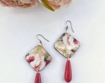 Flower earrings, wooden floral earrings, pink pendant earrings, semiprecious gemstone earrings, handmade earrings, mother gift