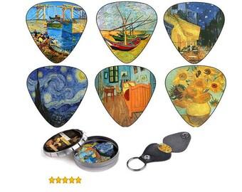 Art Guitar Picks - Guitar Picks Case Keychain - Unique Van Gogh Gifts - Guitar Pick Set - Guitar Pick Pack gift, Best Gift For Guitar Player