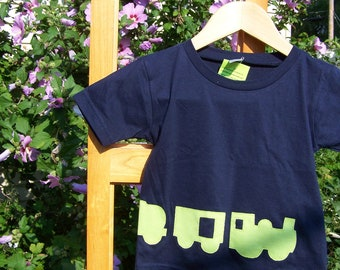 Train Tshirt Lime Green on Navy Infant Wrap Around Fabric Applique  Baby Toddler 6 month, 6m, 12 month, 12m, 18 month, 18m, 2T, 3T, 4T