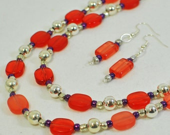 Beaded Necklace RP Dazzle - Red Jewelry - Layering Necklace - Earring Necklace Set - Red and Purple Necklace - Gift for Her - Jewelry Gift