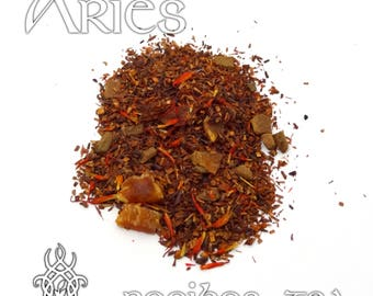 Aries Loose Leaf Tea - loose leaf rooibos tea, peaches and cream, cinnamon, Aries zodiac gift, astrology tea, birthday gift, star sign