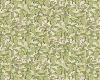 Floral Fabric, Leaf Fabric: Novelty Vintage style - Packed Leaves by Rose Divine 100% cotton Fabric by the Yard SC892