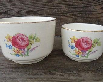 Serving Bowls with Roses (set of 2)