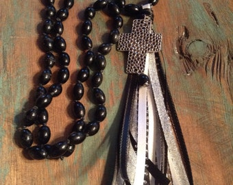 Western knotted black agate and ribbon tassel necklace #NK36