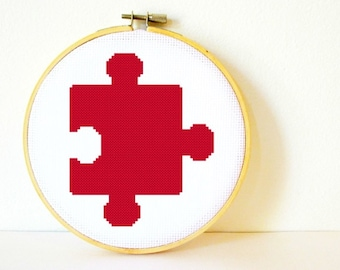 Counted Cross stitch Pattern PDF. Instant download. Puzzle Piece. Includes beginners instructions.