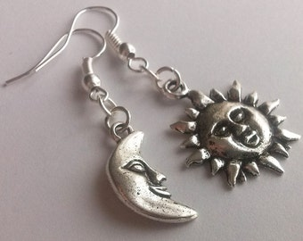 Asymmetrical Mismatched Earrings Silver Sun and Moon Smiling Sun Moon Face Celestial Dangling Earrings