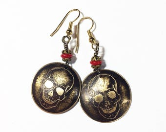 Etched Brass Skull Earrings, Halloween Earrings, Skeleton Earrings, Free Domestic Shipping