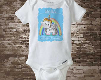 Unicorn Little Cousin shirt or Onesie Bodysuit, Cute cotton tee shirt or Onesie Bodysuit with short or long sleeves personalized 12012017a