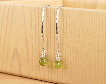 Peridot Earrings, August Birthstone, Long Dangle Earrings, Libra Birthstone, Genuine Green Gemstone: 14K Rose Gold Filled Sterling Silver