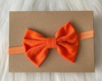Orange Big Bow Headband, Orange Hair Bow, Headband, Baby Headband, Baby Girl Headband, Infant Headband, Newborn Headband, Halloween Headband