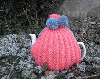 Vintage Style Tea Cosy, hand knitted and crocheted, lined tea cosy