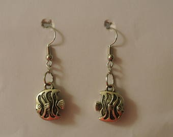Silver Fish Earrings with Silver Fishhook
