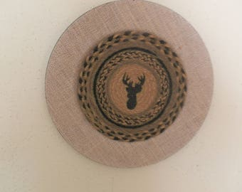 Burlap Covered Lodge/Cabin Decorative Wall Plate with MOOSE in Center NEW!