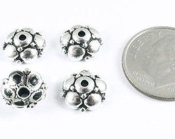 TierraCast Pewter Bead Caps-Antique Silver Eastern 9mm (4)